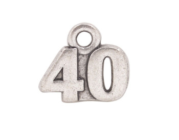 30 ADET Antiqued Gümüş 40th Birthday Charms #92243