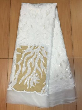 Thread lace African Nigeria Lace Fabric/African French Lace Fabric/African Net Lace For Wedding white