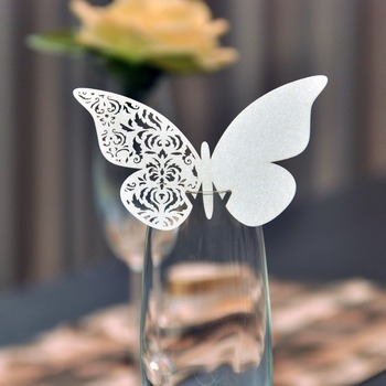 120PCS Ivory Butterfly with Flower Wine Glass Place Card Wedding Table Place Cards for Party Wedding Favors and Gifts Decoration