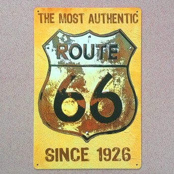 ROUTE 66 metal tabelaları vintage ev dekor metal duvar sticker dekoratif metal plaketler bar wall art craft için plak JH-00666