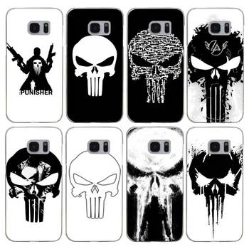 H066 Comic Schwarz Punisher Şeffaf Sert PC Case Kapak Samsung Galaxy S Için 3 4 5 6 7 8 Mini Kenar Artı Not 3 4 5 8